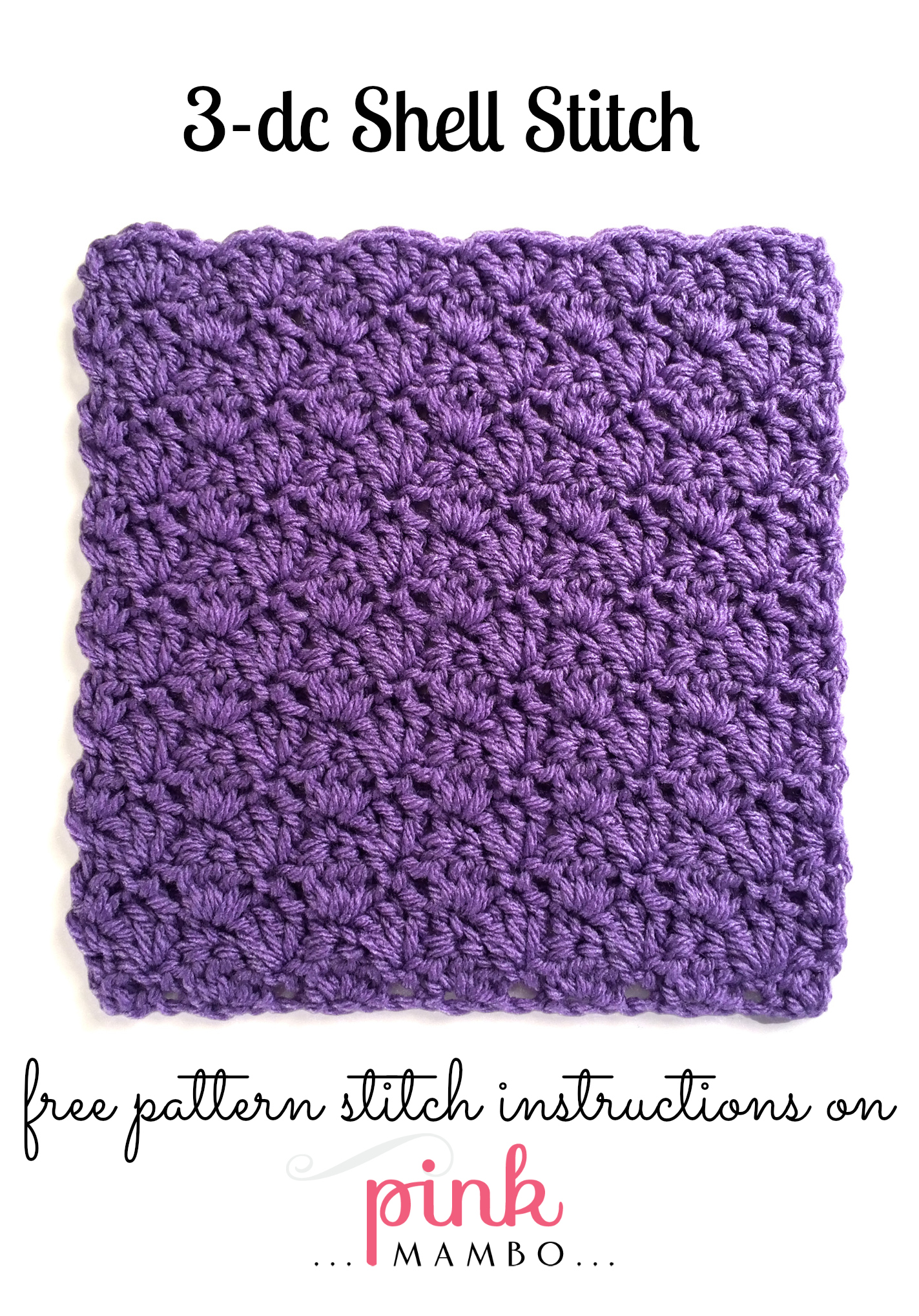 Crochet Stitch Patterns : Double Crochet Shell Stitch Pattern - Pink Mambo