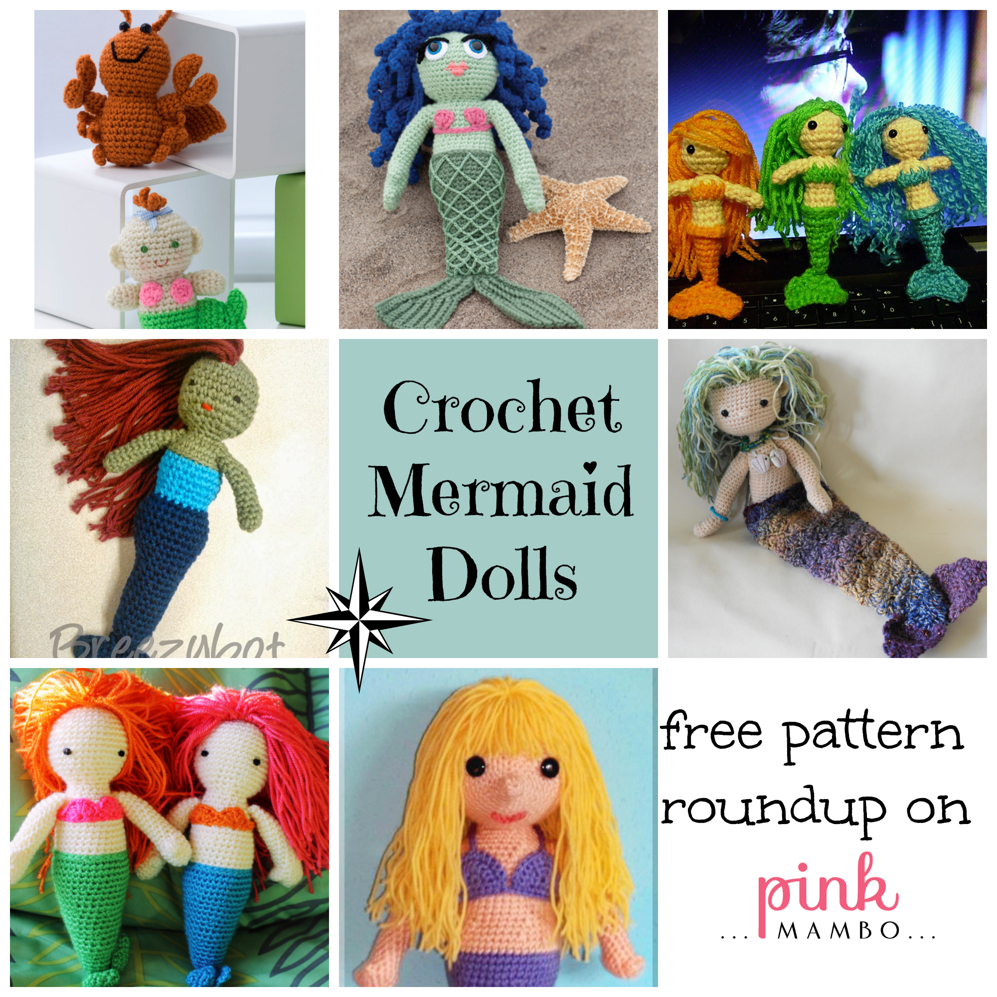 Crochet Mermaid Dolls Free Pattern Roundup Pink Mambo
