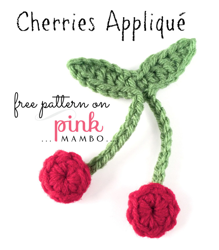 Crochet Cherries Appliqu Pink Mambo