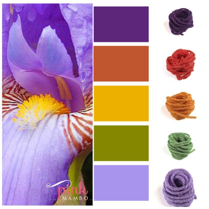 Iris Collage with yarn