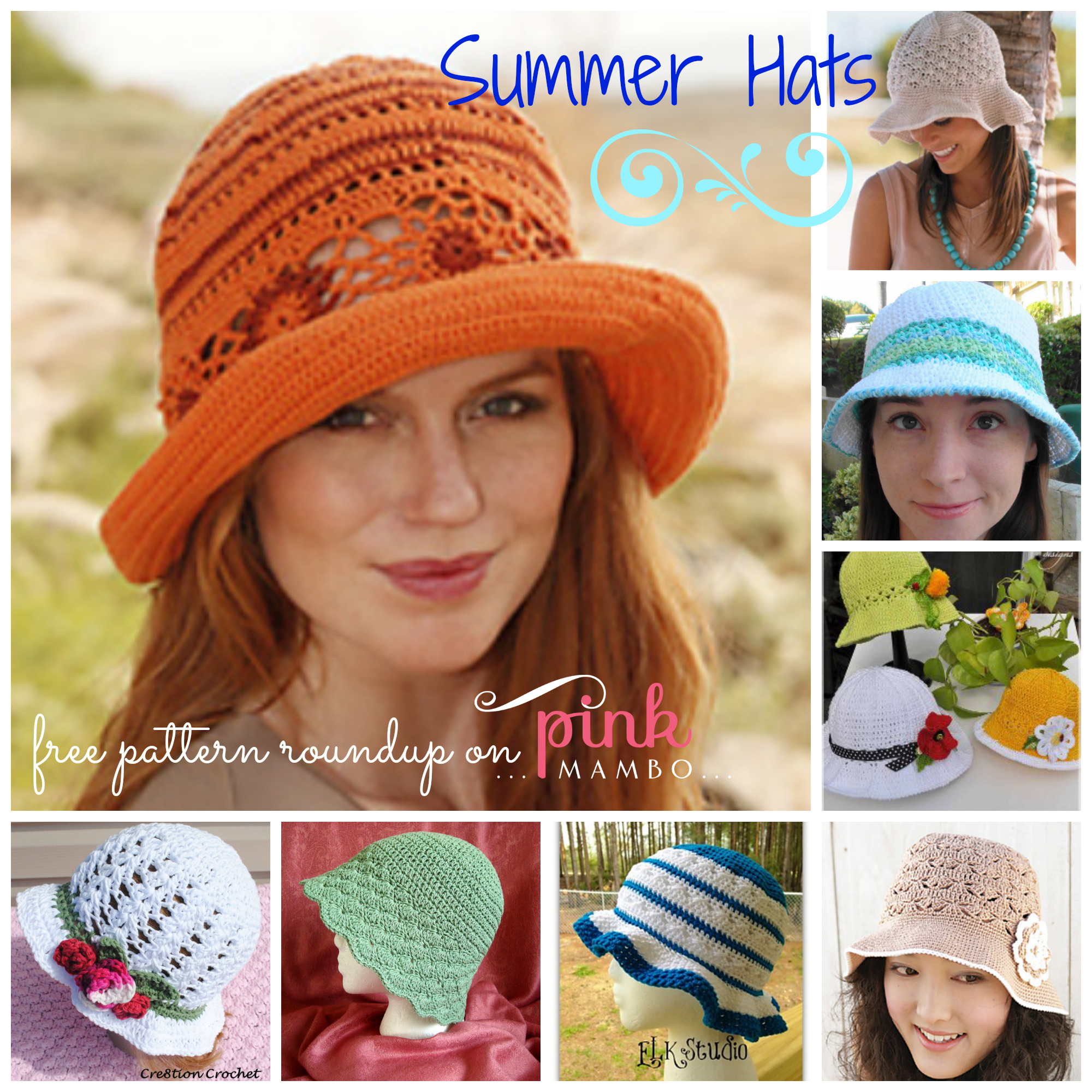 Free Crochet Summer Hat Patterns For Adults : Crochet Summer Hats - 8 Free Patterns! - Pink Mambo