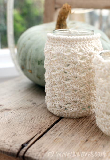 Crochet Patterns Jar Covers : Crochet Jar Cozies by lululoves.co.uk. Lovely shell stitches are ...