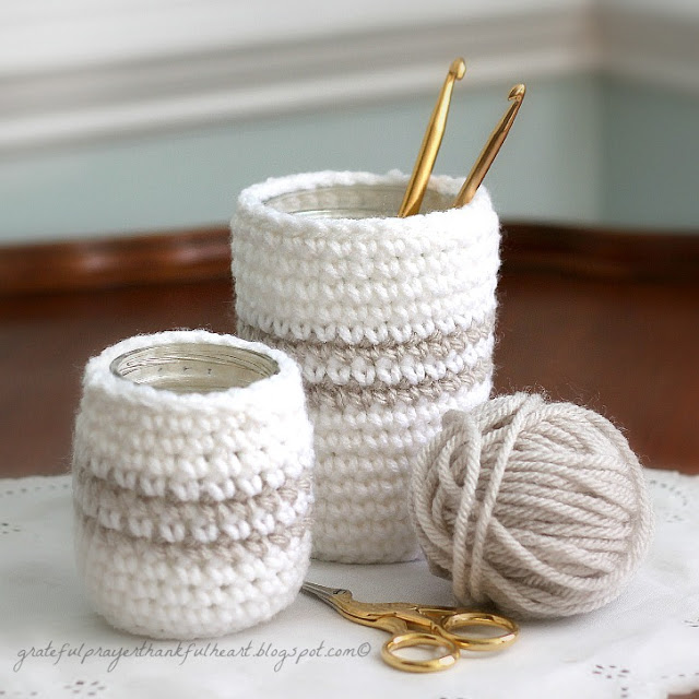 Crochet Patterns Jar Covers : Crochet Cozy for Jars or Cans by A Grateful Prayer and a Thankful ...