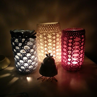 Crochet Mason Jar Covers On Pinterest Mason Jar Cozy Mason Jars