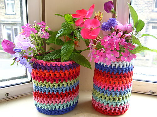 Crochet Patterns Jar Covers : Crochet Jar Jacket by Lucy of Attic24. Colorful yarn scraps turn ...