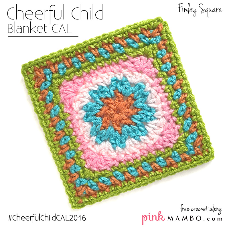 Crochet Along : Cheerful Child Crochet Along Finley Square #8 - Pink Mambo