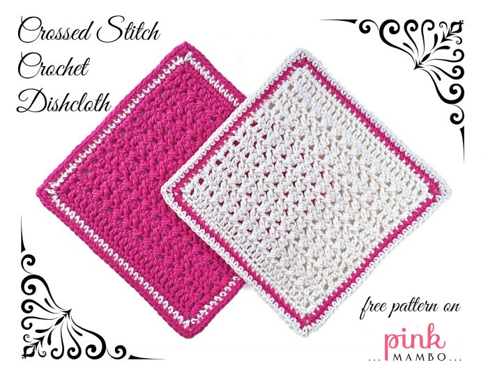 Pink and White Crossed Stitch Crochet Dishcloths