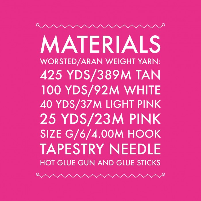 crochet pieces materials list for Candy Cottage Gingerbread House